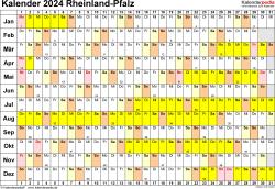 Vorlage 3: Kalender Rheinland-Pfalz 2024 im Querformat, Tage nebeneinander