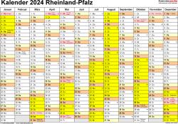 Vorlage 1: Kalender 2024 für Rheinland-Pfalz als Excel-Vorlage (Querformat, 1 Seite)