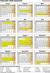 Vorlage 8: Kalender Saarland 2024 als PDF-Vorlage (Hochformat)