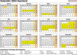 Vorlage 4: Kalender 2024 für Saarland als PDF-Vorlage (Querformat, 1 Seite, Jahresübersicht)