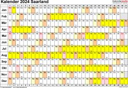 Vorlage 3: Kalender Saarland 2024 im Querformat, Tage nebeneinander