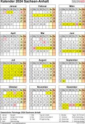 Vorlage 8: Kalender Sachsen-Anhalt 2024 als Word-Vorlage (Hochformat)