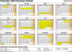 Vorlage 4: Kalender 2024 für Sachsen-Anhalt als Word-Vorlage (Querformat, 1 Seite, Jahresübersicht)