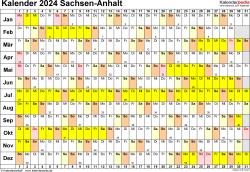 Vorlage 3: Kalender Sachsen-Anhalt 2024 im Querformat, Tage nebeneinander