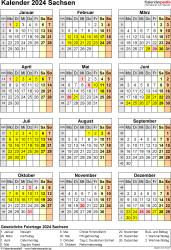 Vorlage 8: Kalender Sachsen 2024 als Word-Vorlage (Hochformat)