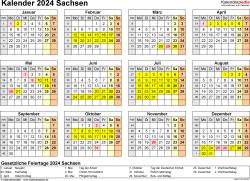 Vorlage 4: Kalender 2024 für Sachsen als Word-Vorlage (Querformat, 1 Seite, Jahresübersicht)