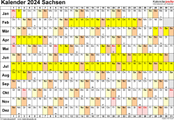 Vorlage 3: Kalender Sachsen 2024 im Querformat, Tage nebeneinander