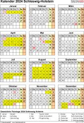 Vorlage 8: Kalender Schleswig-Holstein 2024 als Excel-Vorlage (Hochformat)