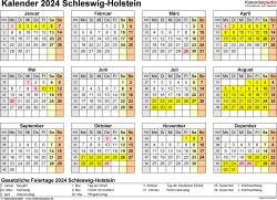 Vorlage 4: Kalender 2024 für Schleswig-Holstein als Excel-Vorlage (Querformat, 1 Seite, Jahresübersicht)