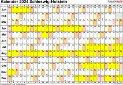 Vorlage 3: Kalender Schleswig-Holstein 2024 im Querformat, Tage nebeneinander
