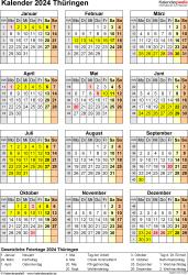 Vorlage 8: Kalender Thüringen 2024 als Excel-Vorlage (Hochformat)