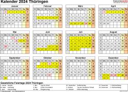 Vorlage 4: Kalender 2024 für Thüringen als Excel-Vorlage (Querformat, 1 Seite, Jahresübersicht)