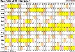 Vorlage 3: Kalender Thüringen 2024 im Querformat, Tage nebeneinander