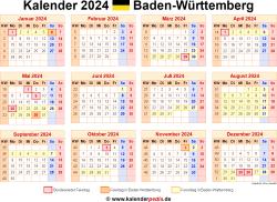 Kalender 2024 Baden-Württemberg