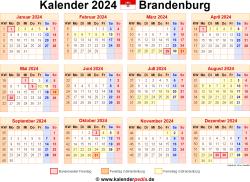 Kalender 2024 Brandenburg