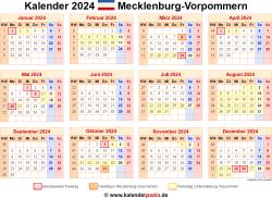 Kalender 2024 Mecklenburg-Vorpommern