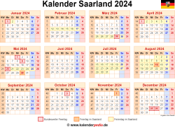 Kalender 2024 Saarland