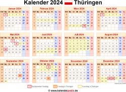 Kalender 2024 Thüringen