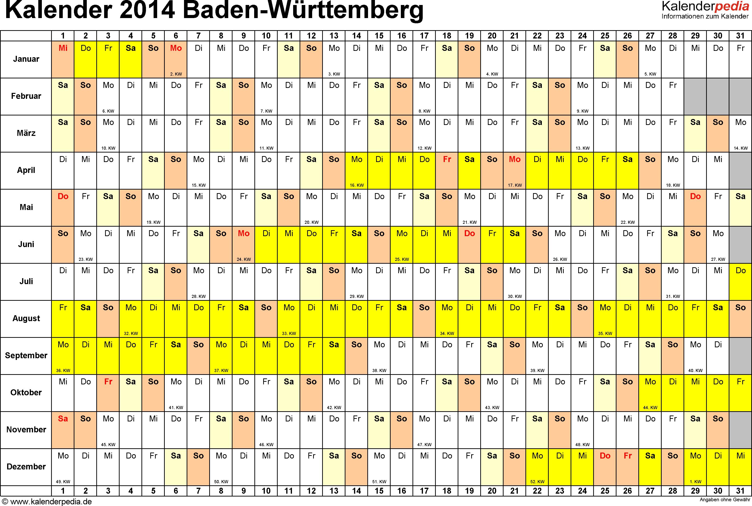 Vorlage 2: Kalender Baden-Württemberg 2014 im Querformat, Tage nebeneinander