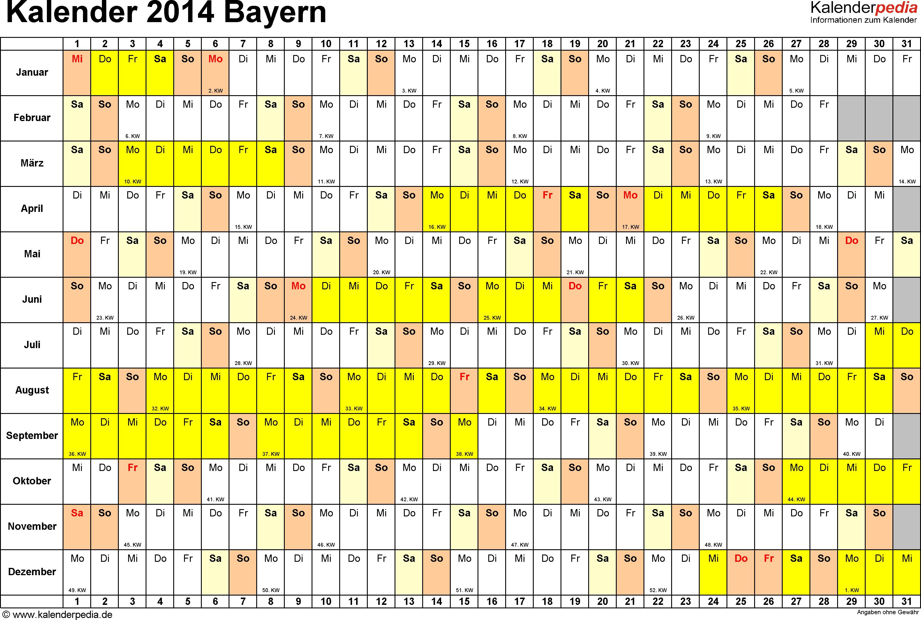 Vorlage 2: Kalender Bayern 2014 im Querformat, Tage nebeneinander