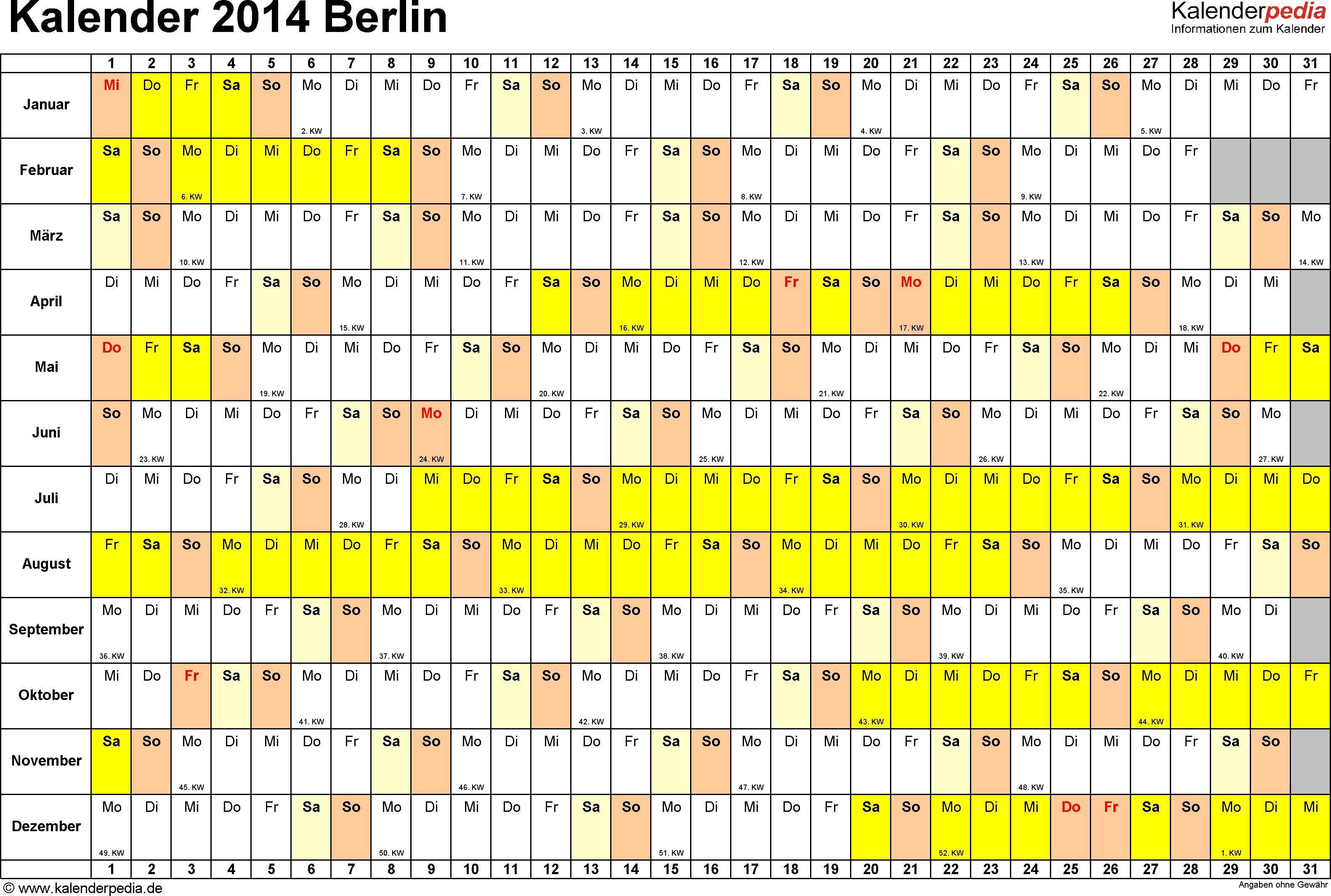 Vorlage 2: Kalender Berlin 2014 im Querformat, Tage nebeneinander