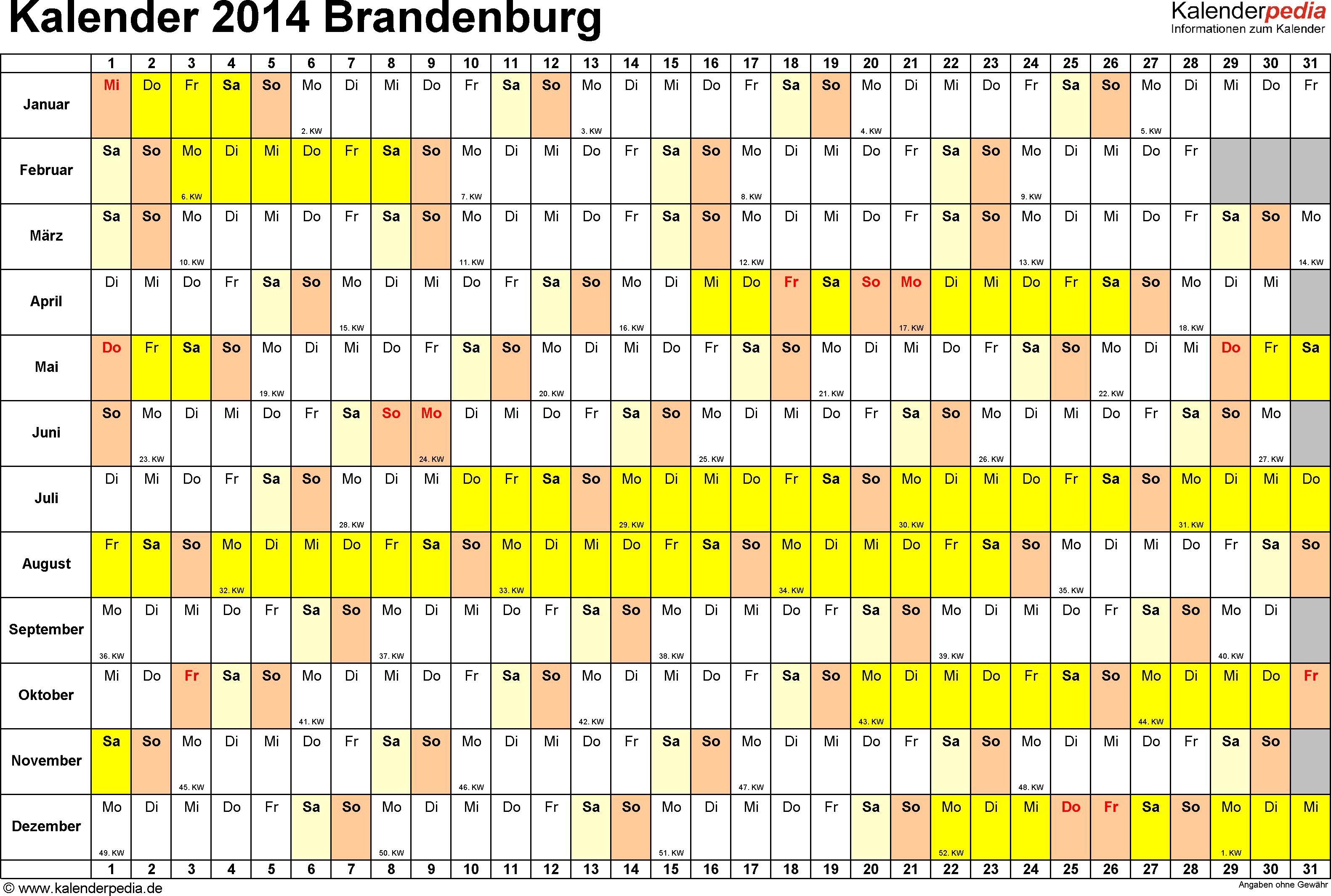Vorlage 3: Kalender Brandenburg 2014 im Querformat, Tage nebeneinander