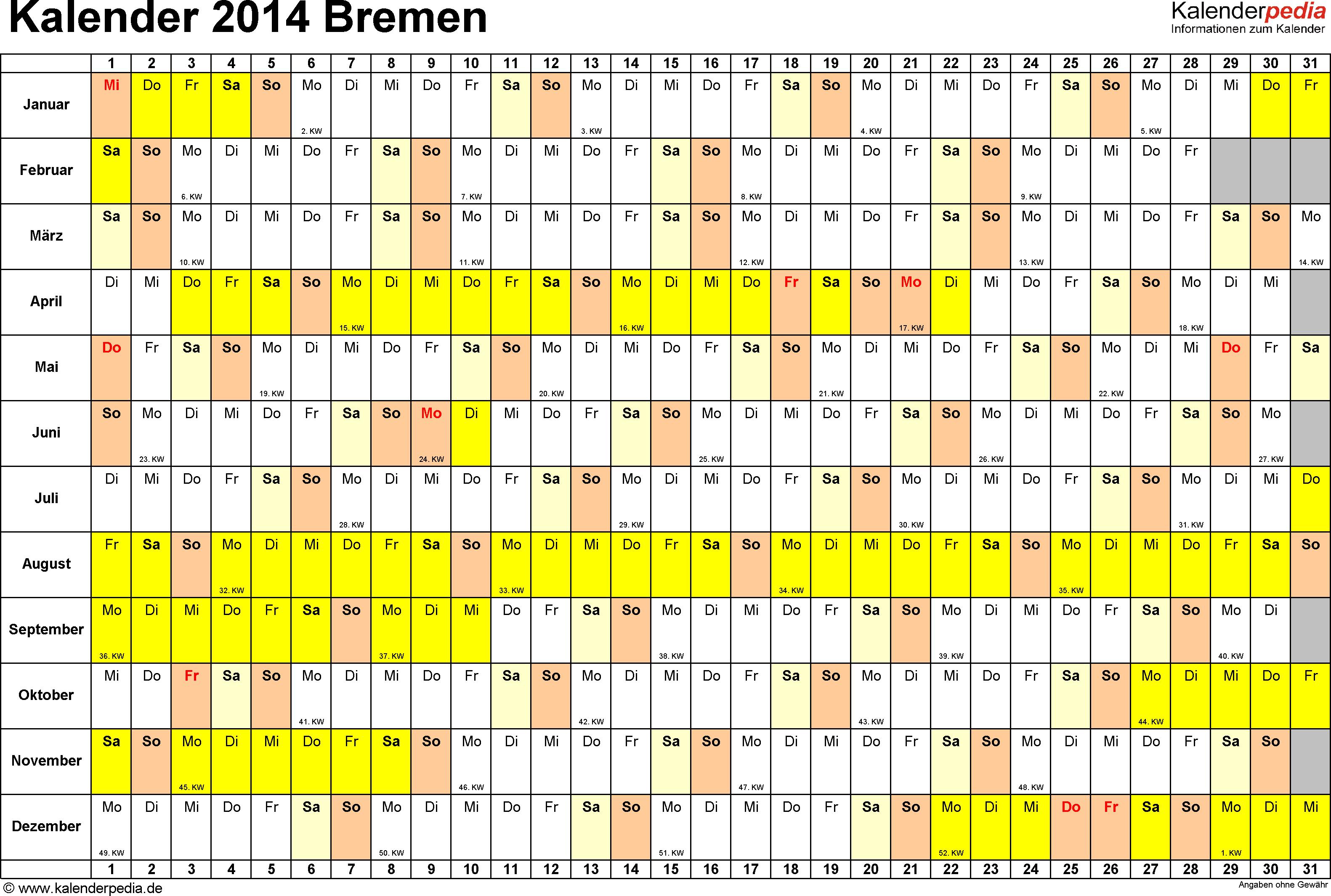 Vorlage 2: Kalender Bremen 2014 im Querformat, Tage nebeneinander