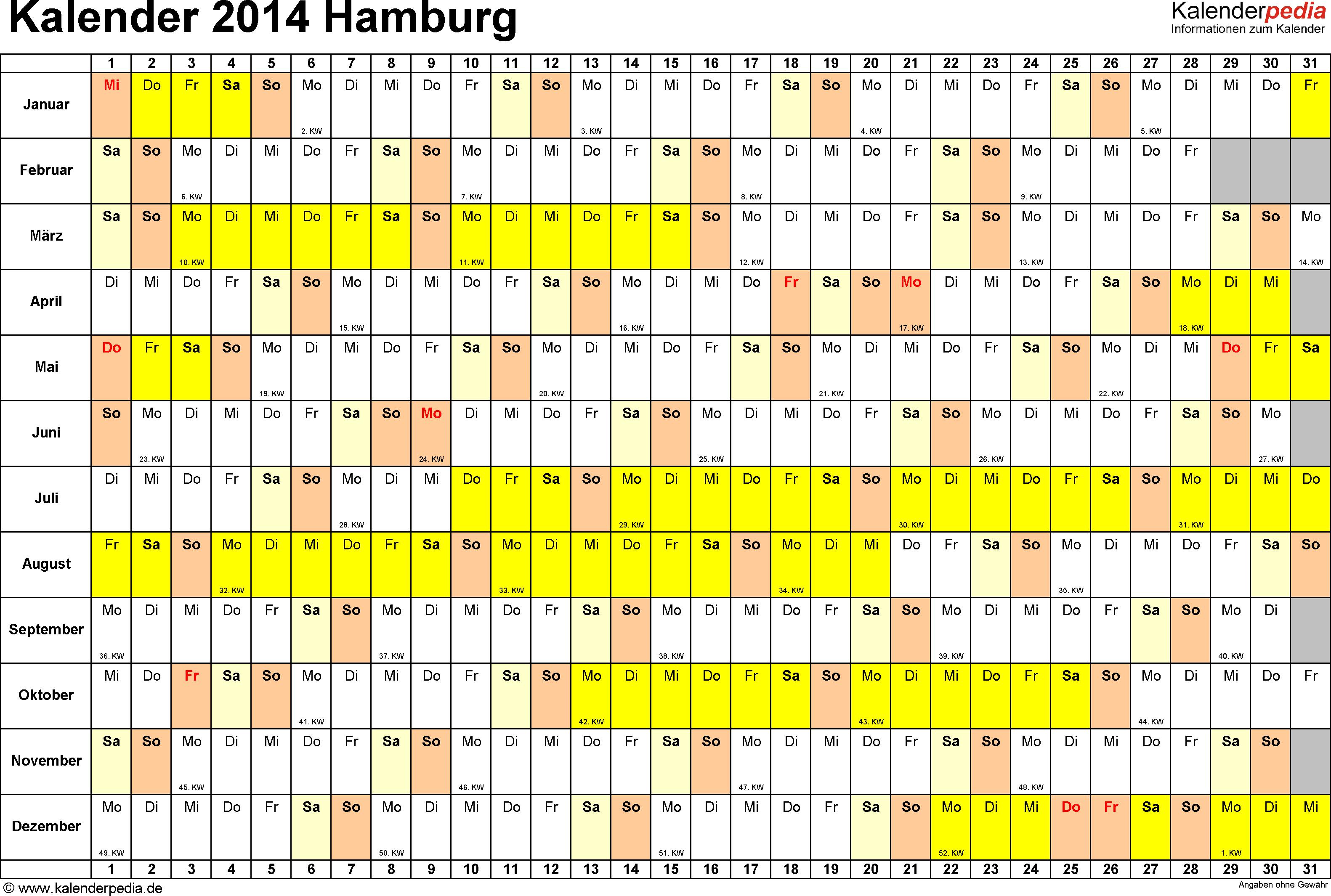 Vorlage 3: Kalender Hamburg 2014 im Querformat, Tage nebeneinander