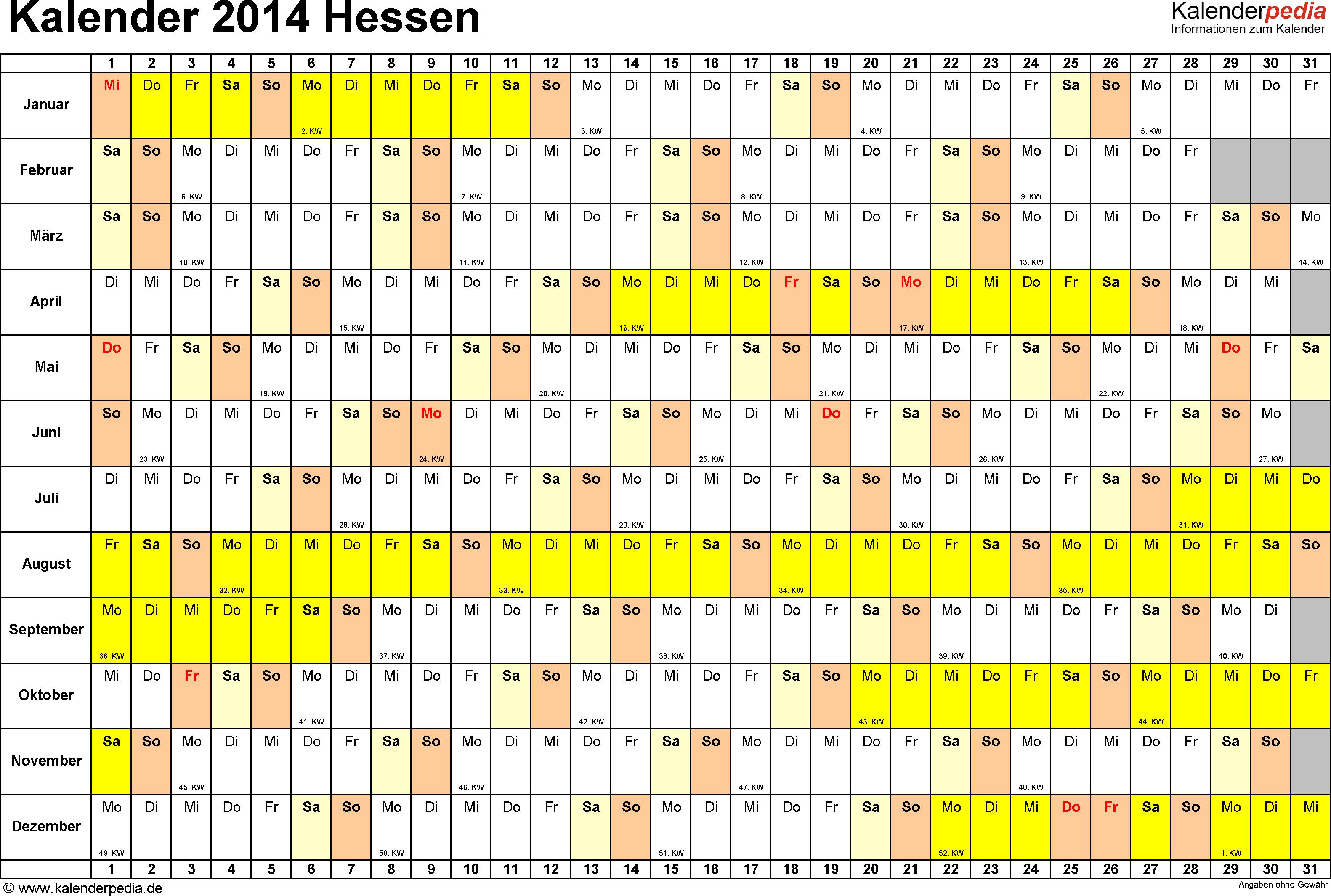 Vorlage 3: Kalender Hessen 2014 im Querformat, Tage nebeneinander