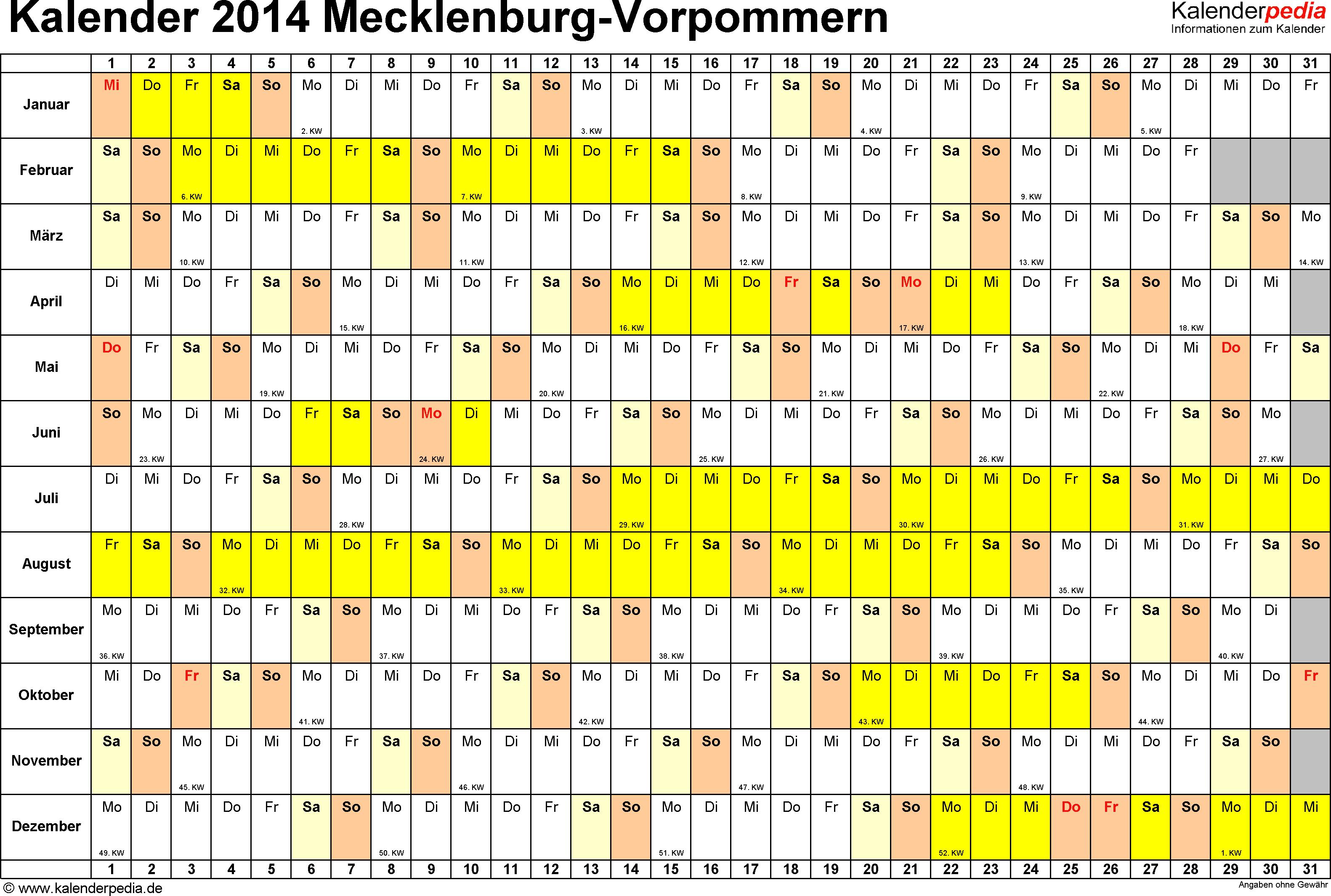 Vorlage 3: Kalender Mecklenburg-Vorpommern 2014 im Querformat, Tage nebeneinander
