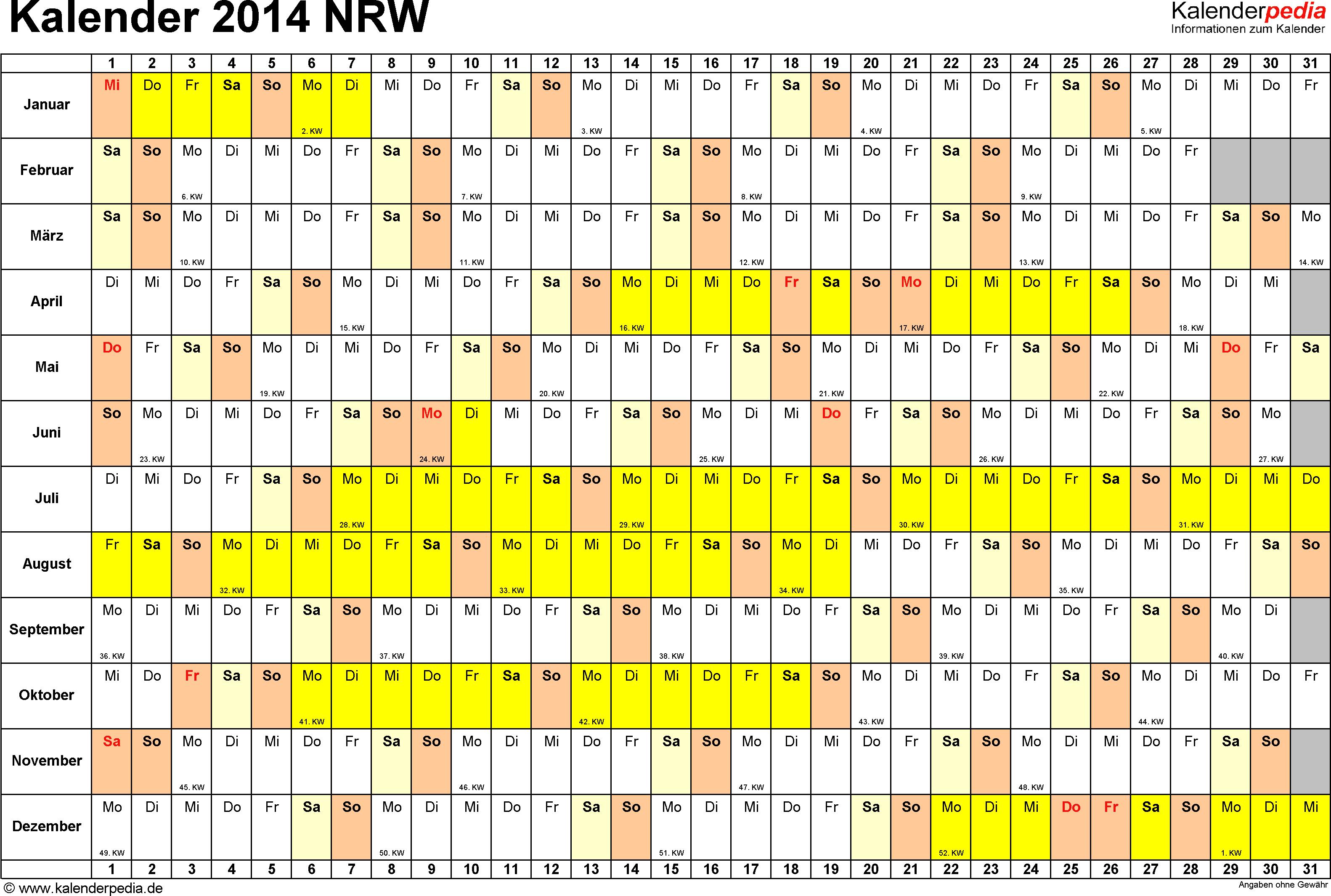 Vorlage 3: Kalender Nordrhein-Westfalen (NRW) 2014 im Querformat, Tage nebeneinander
