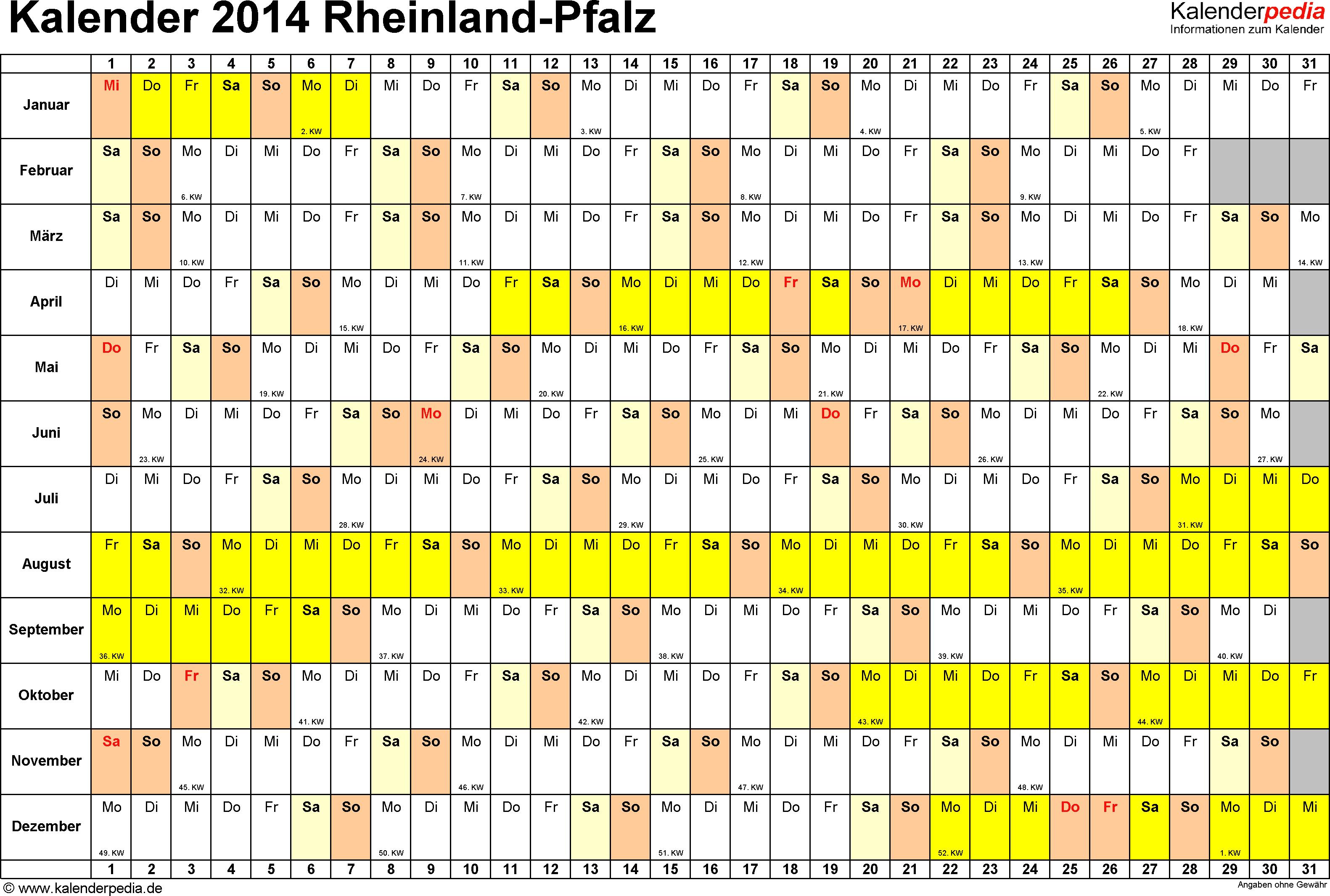 Vorlage 3: Kalender Rheinland-Pfalz 2014 im Querformat, Tage nebeneinander