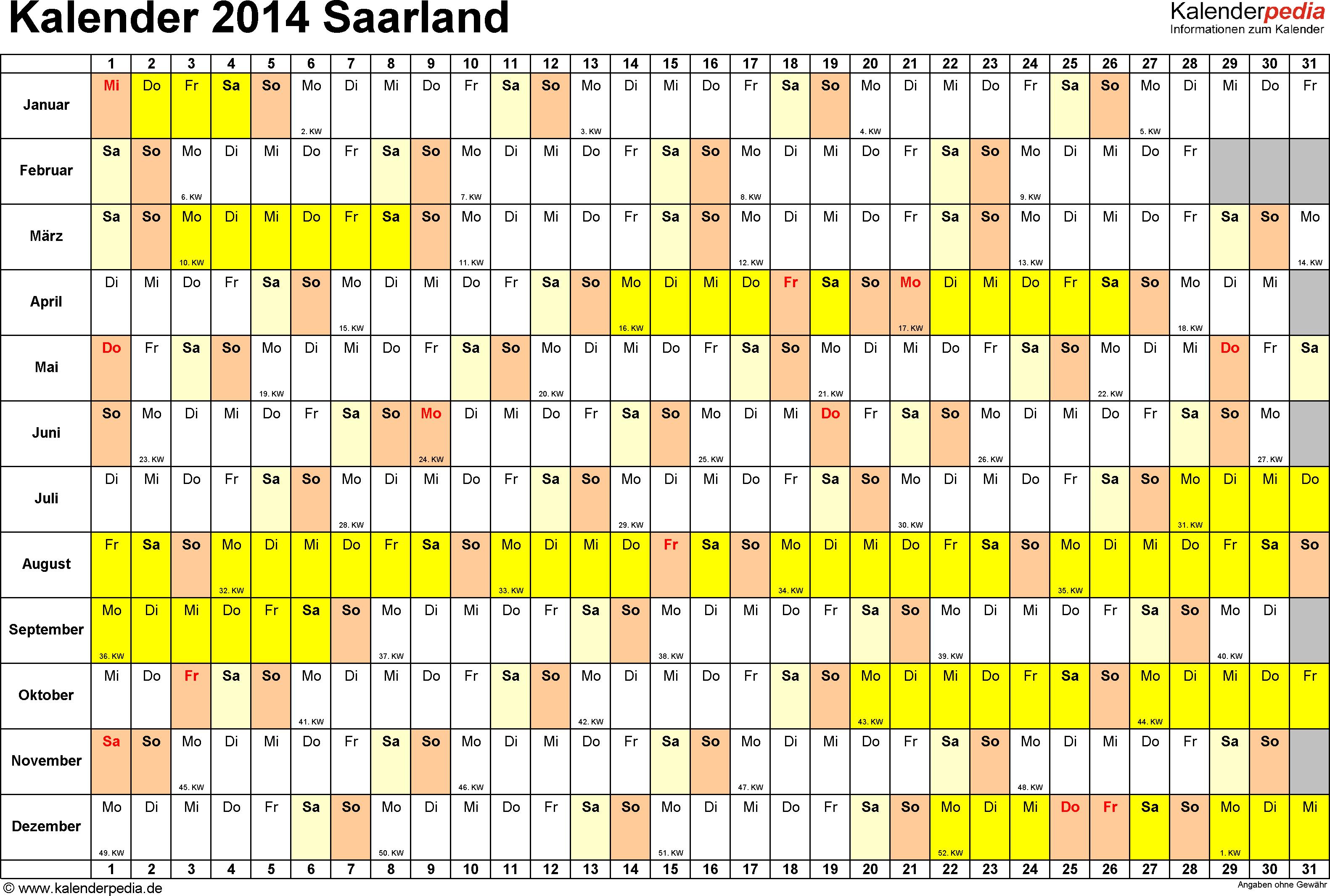 Vorlage 2: Kalender Saarland 2014 im Querformat, Tage nebeneinander