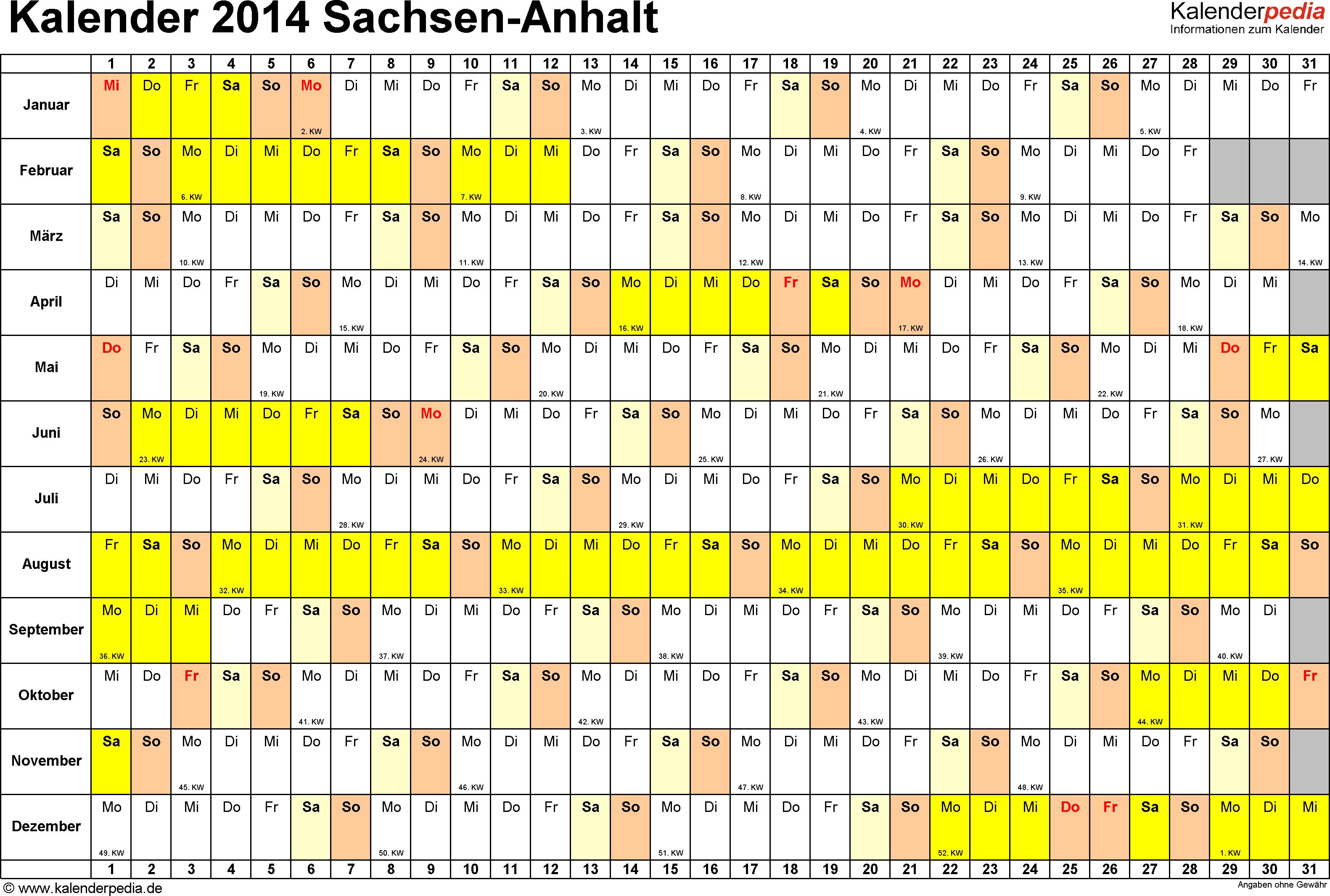 Vorlage 2: Kalender Sachsen-Anhalt 2014 im Querformat, Tage nebeneinander