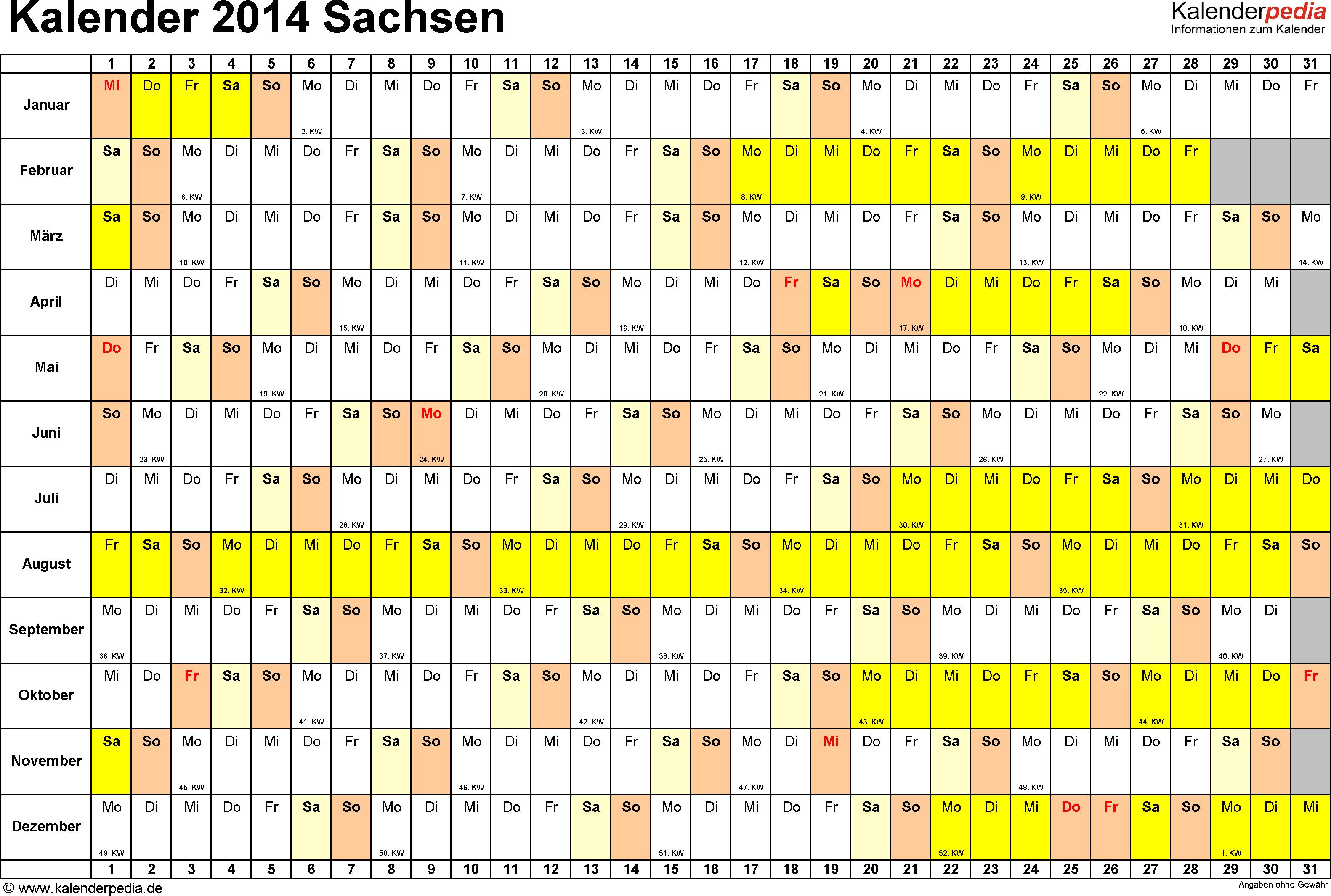 Vorlage 3: Kalender Sachsen 2014 im Querformat, Tage nebeneinander