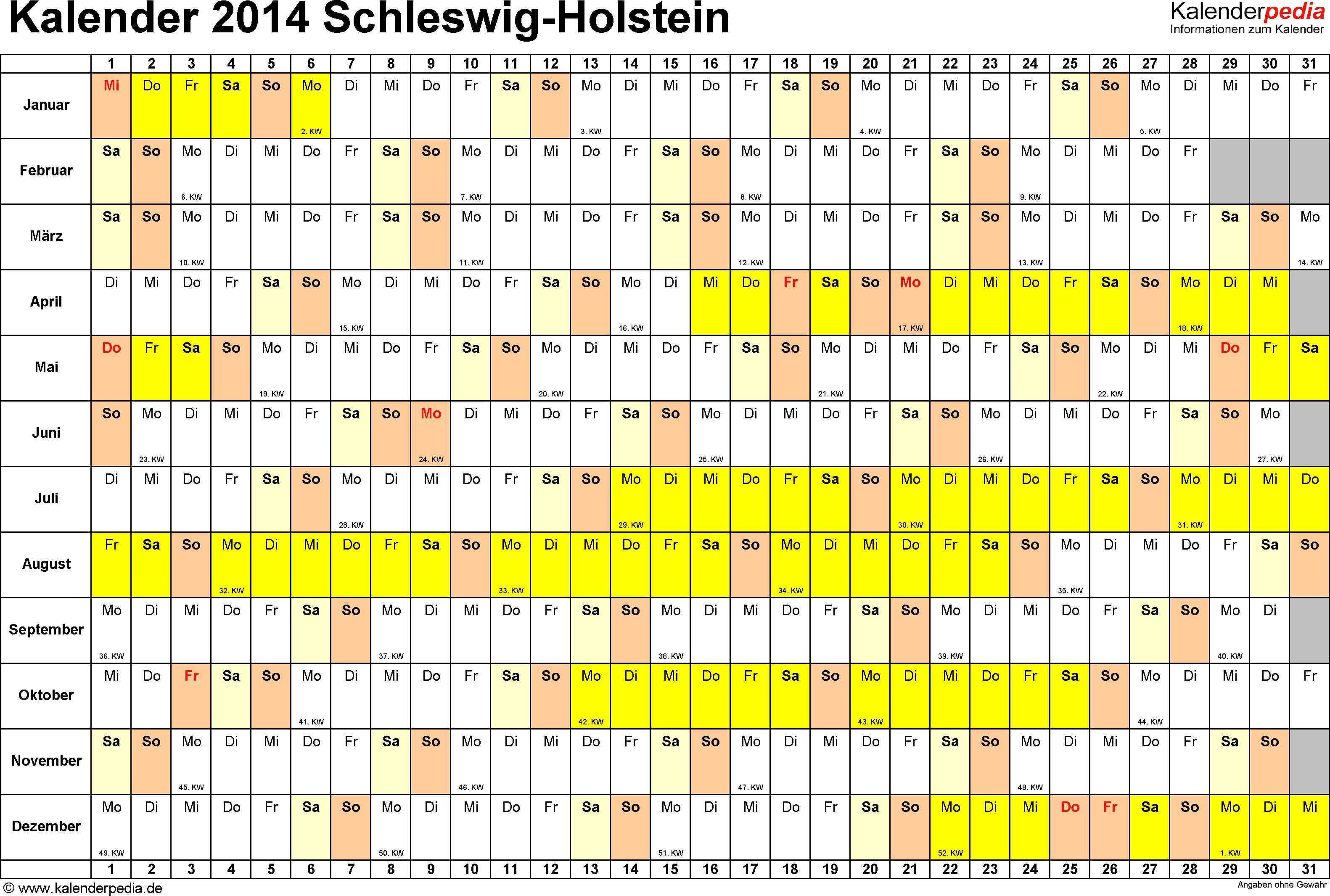 Vorlage 3: Kalender Schleswig-Holstein 2014 im Querformat, Tage nebeneinander