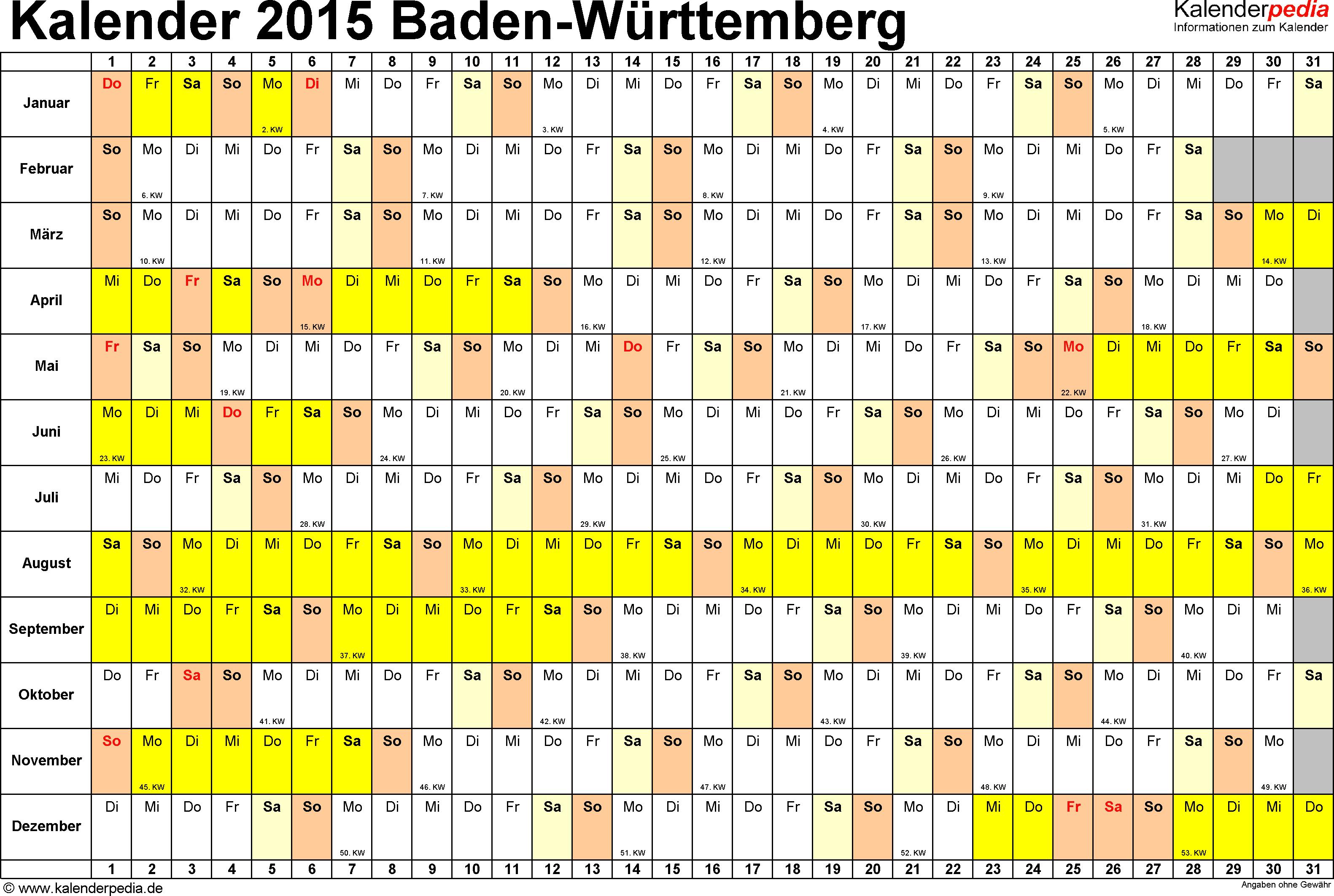 Vorlage 2: Kalender Baden-Württemberg 2015 im Querformat, Tage nebeneinander