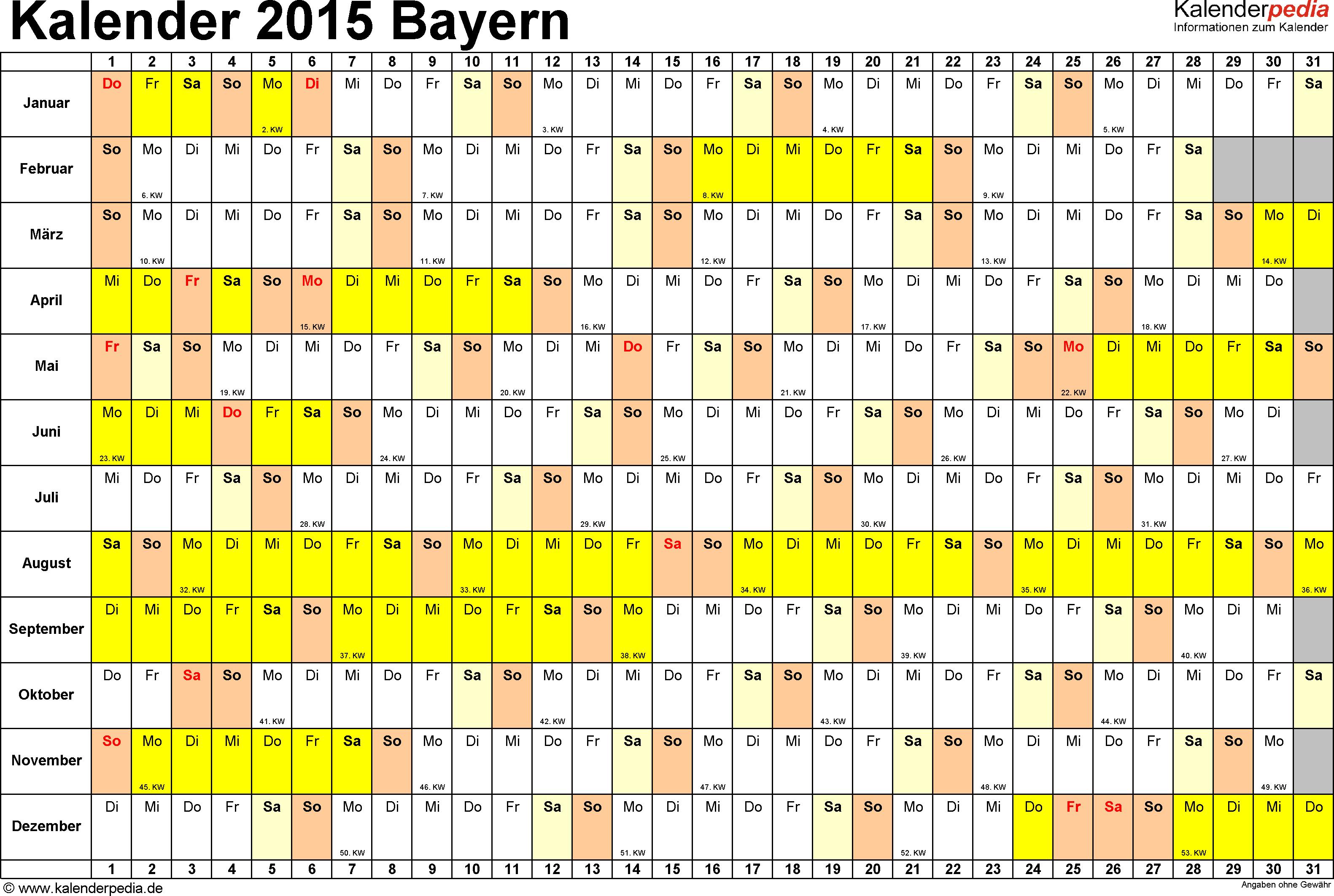 Vorlage 2: Kalender Bayern 2015 im Querformat, Tage nebeneinander