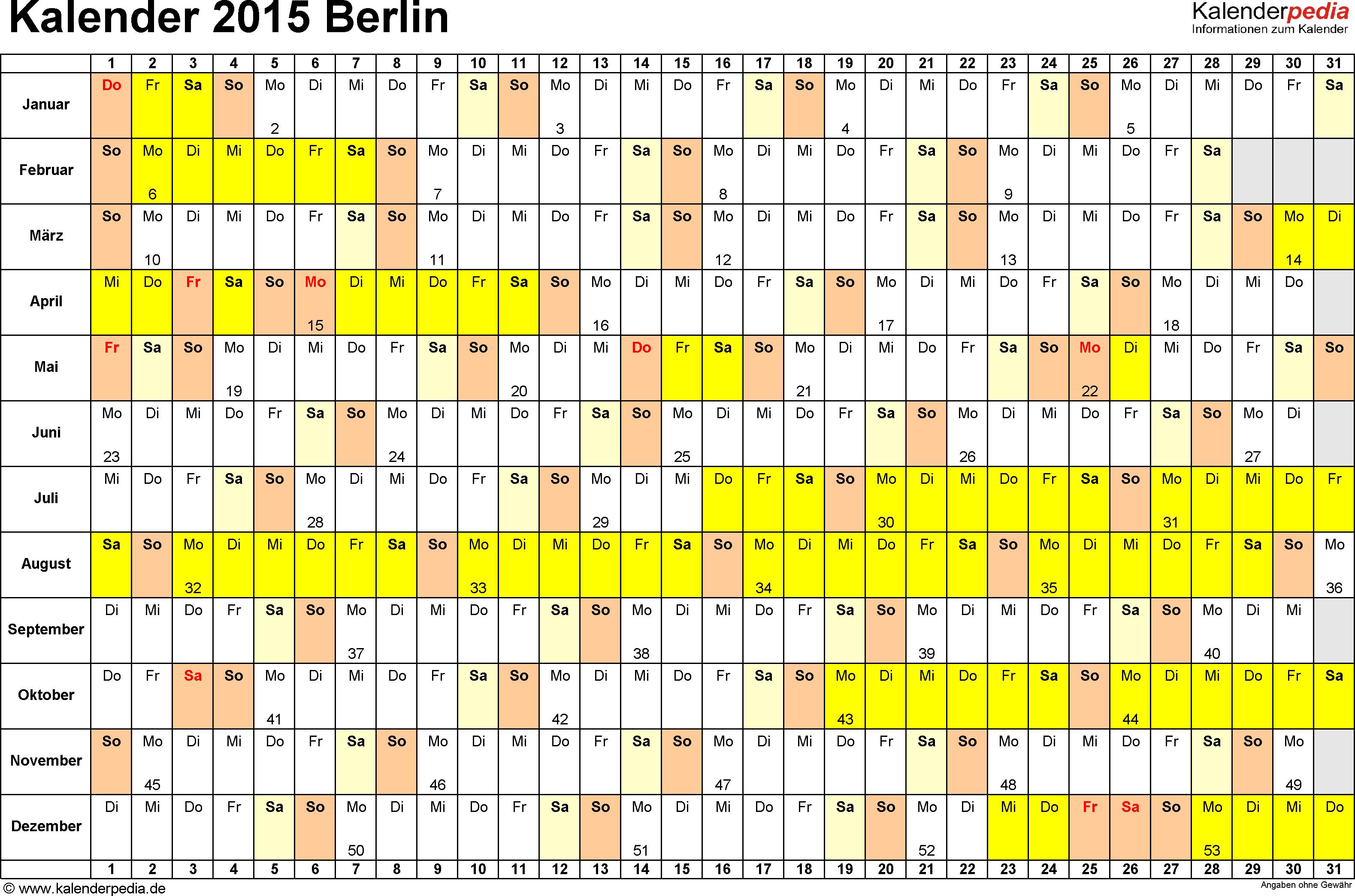 Vorlage 2: Kalender Berlin 2015 im Querformat, Tage nebeneinander