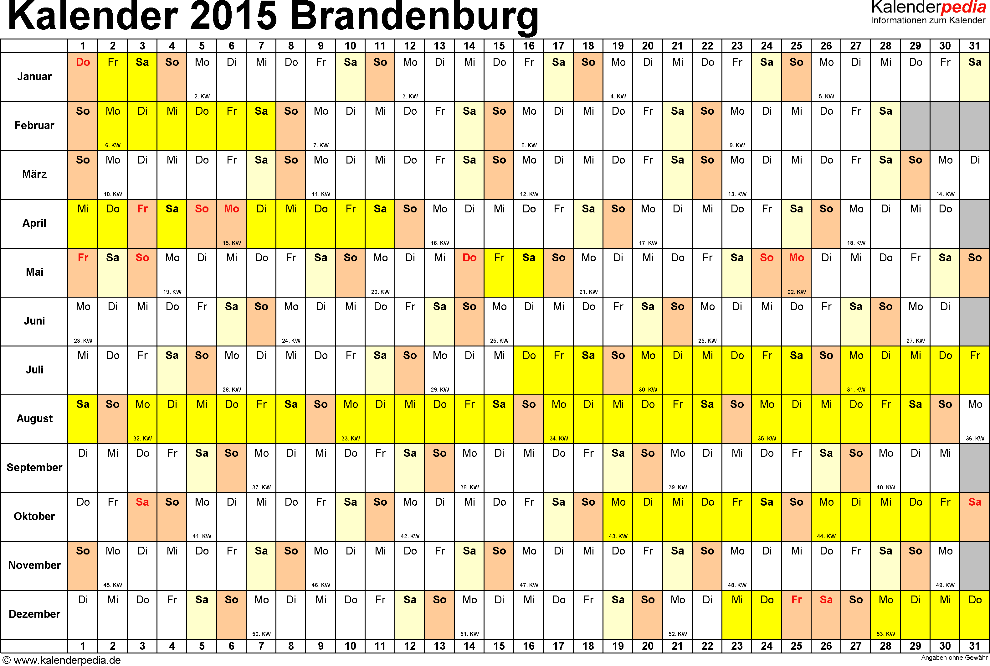Vorlage 2: Kalender Brandenburg 2015 im Querformat, Tage nebeneinander