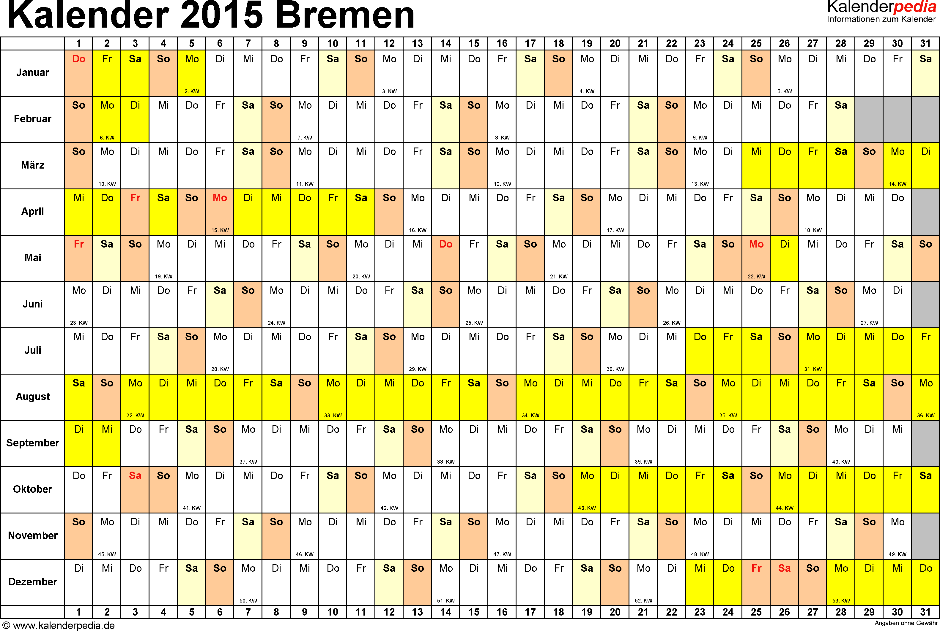 Vorlage 2: Kalender Bremen 2015 im Querformat, Tage nebeneinander