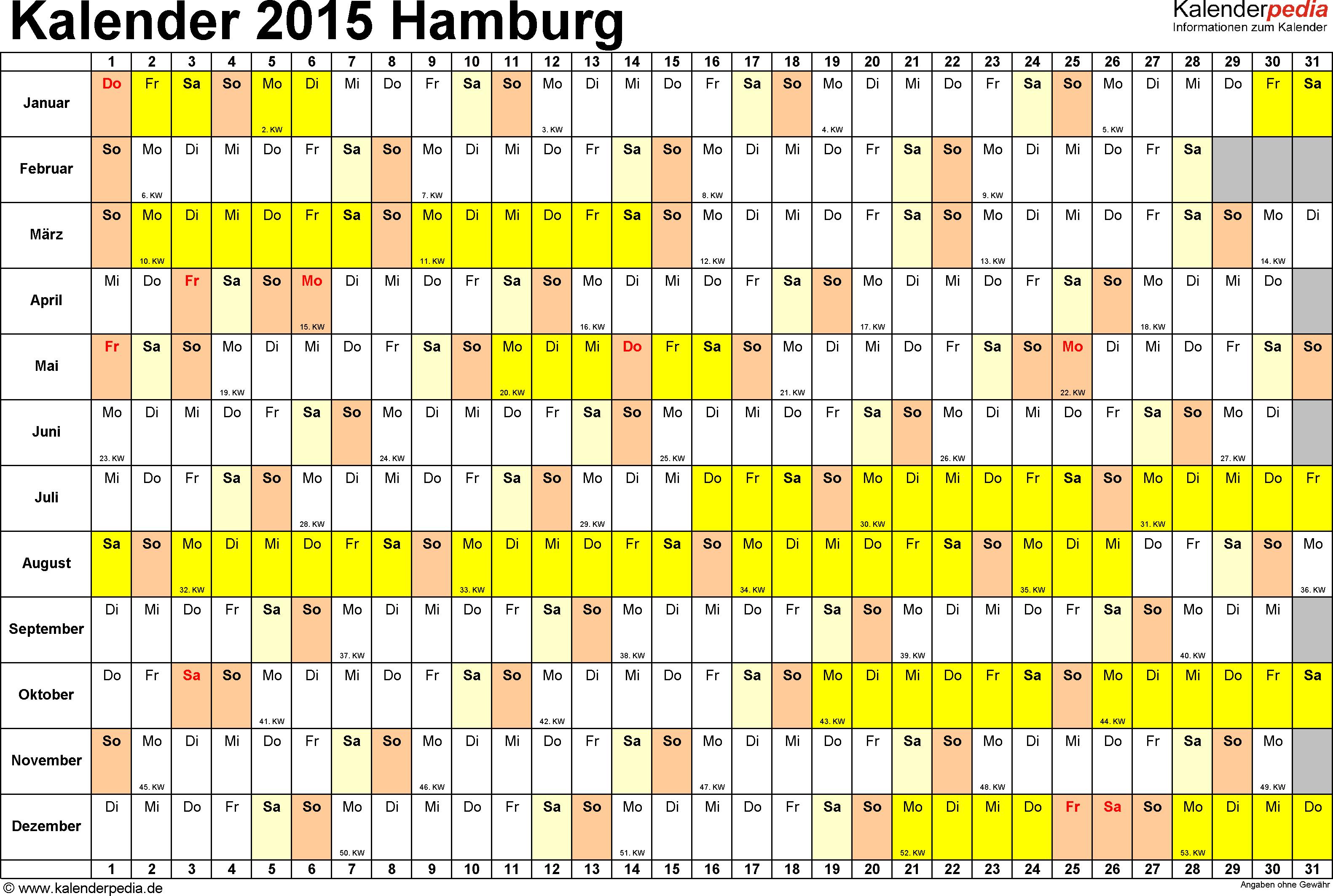 Vorlage 3: Kalender Hamburg 2015 im Querformat, Tage nebeneinander