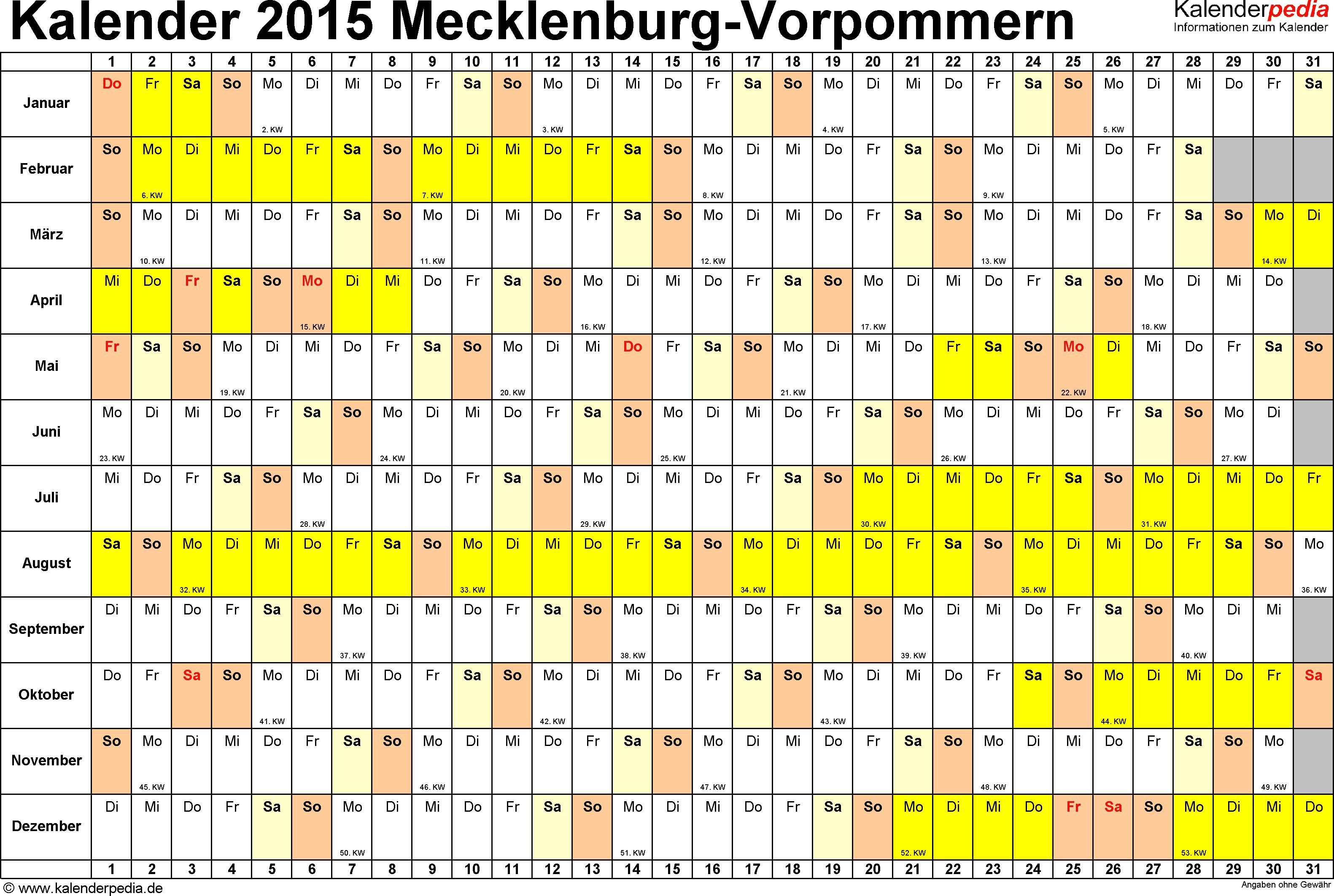 Vorlage 3: Kalender Mecklenburg-Vorpommern 2015 im Querformat, Tage nebeneinander