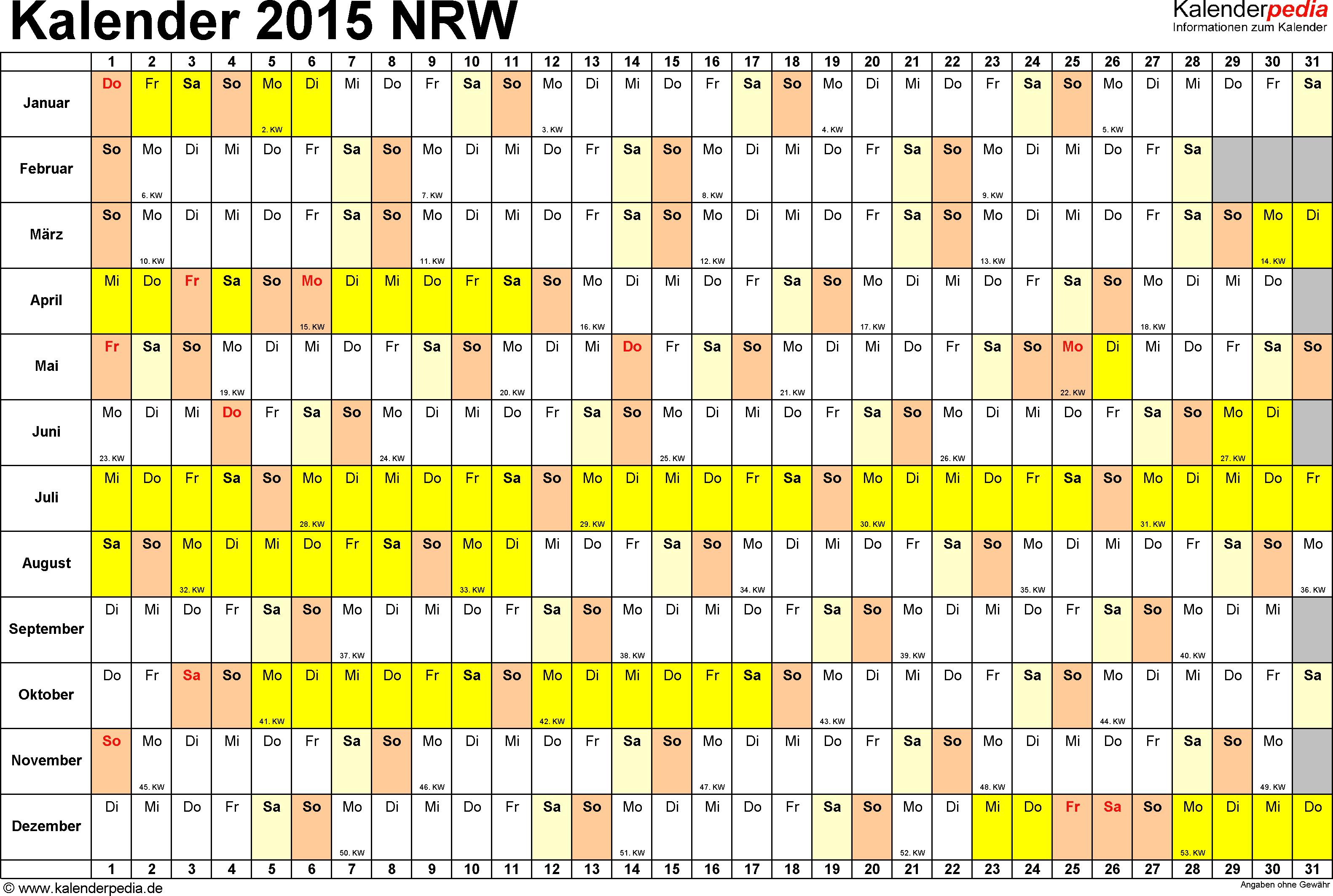Vorlage 3: Kalender Nordrhein-Westfalen (NRW) 2015 im Querformat, Tage nebeneinander