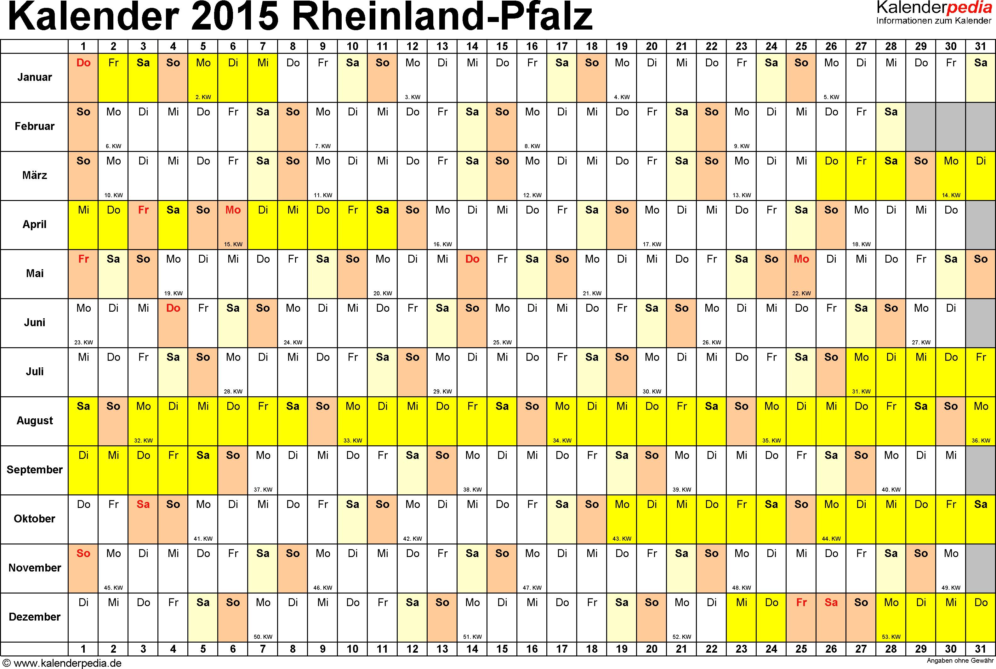 Vorlage 3: Kalender Rheinland-Pfalz 2015 im Querformat, Tage nebeneinander