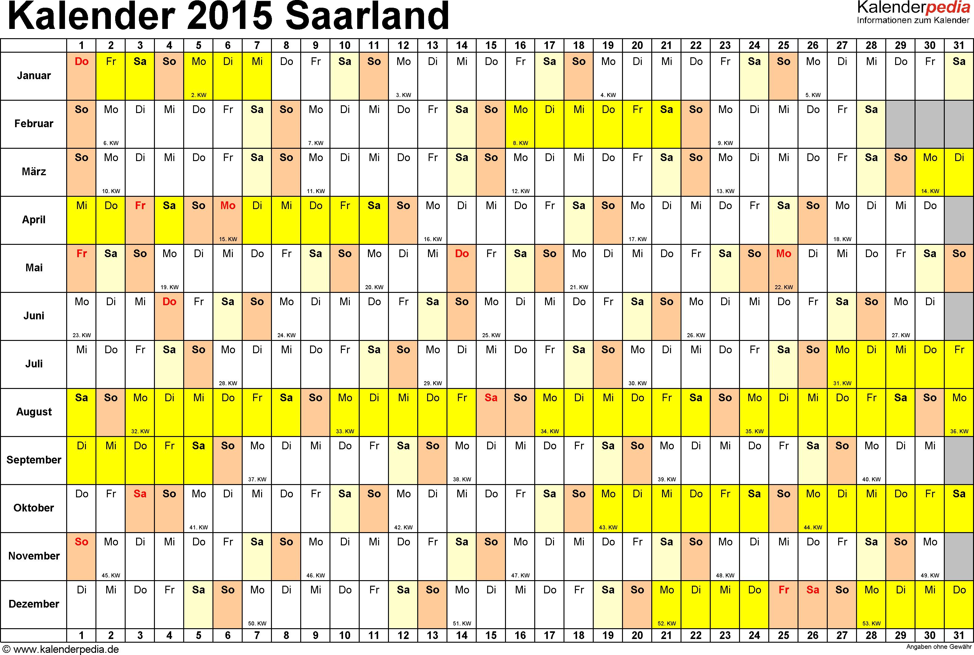 Vorlage 2: Kalender Saarland 2015 im Querformat, Tage nebeneinander