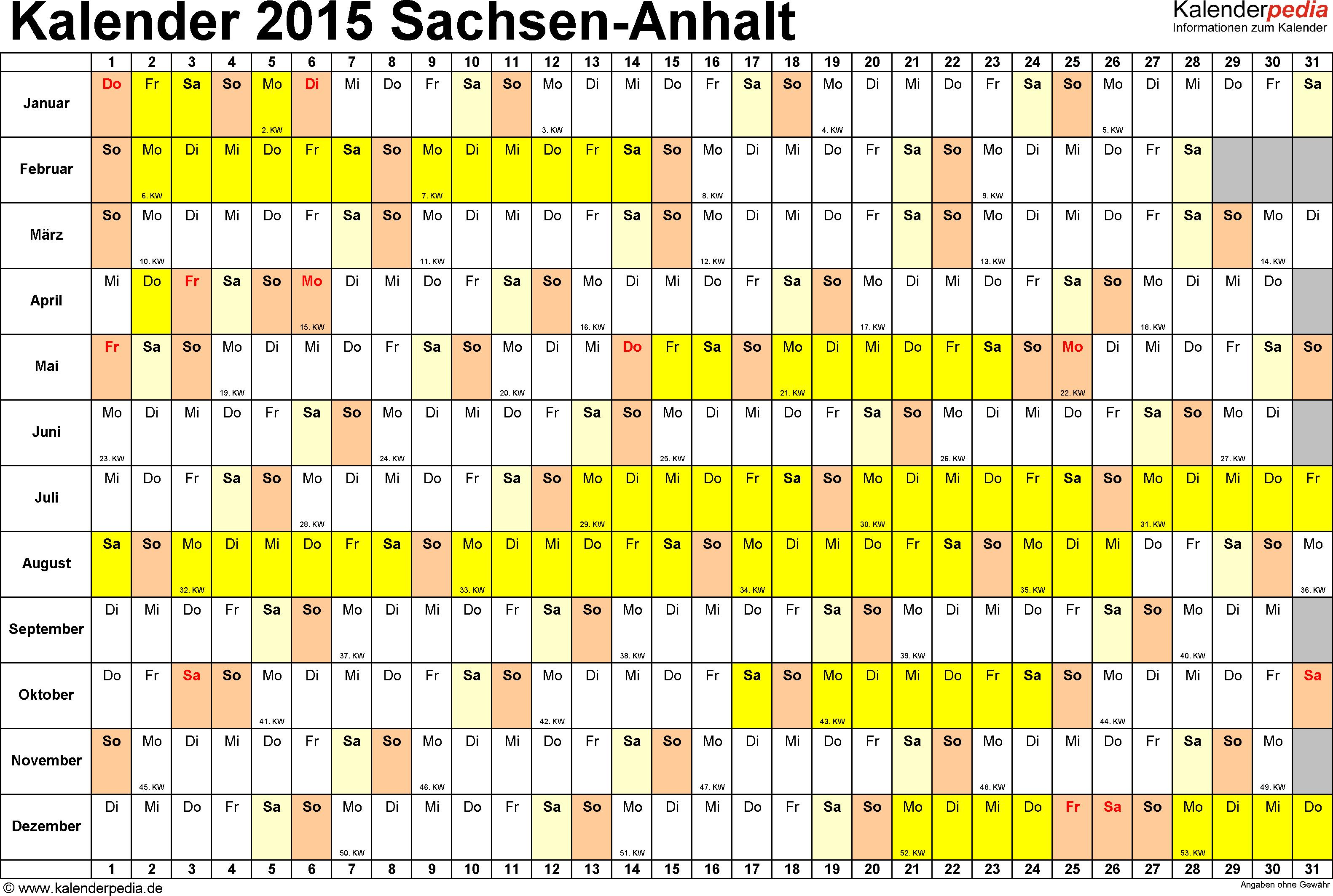 Vorlage 2: Kalender Sachsen-Anhalt 2015 im Querformat, Tage nebeneinander