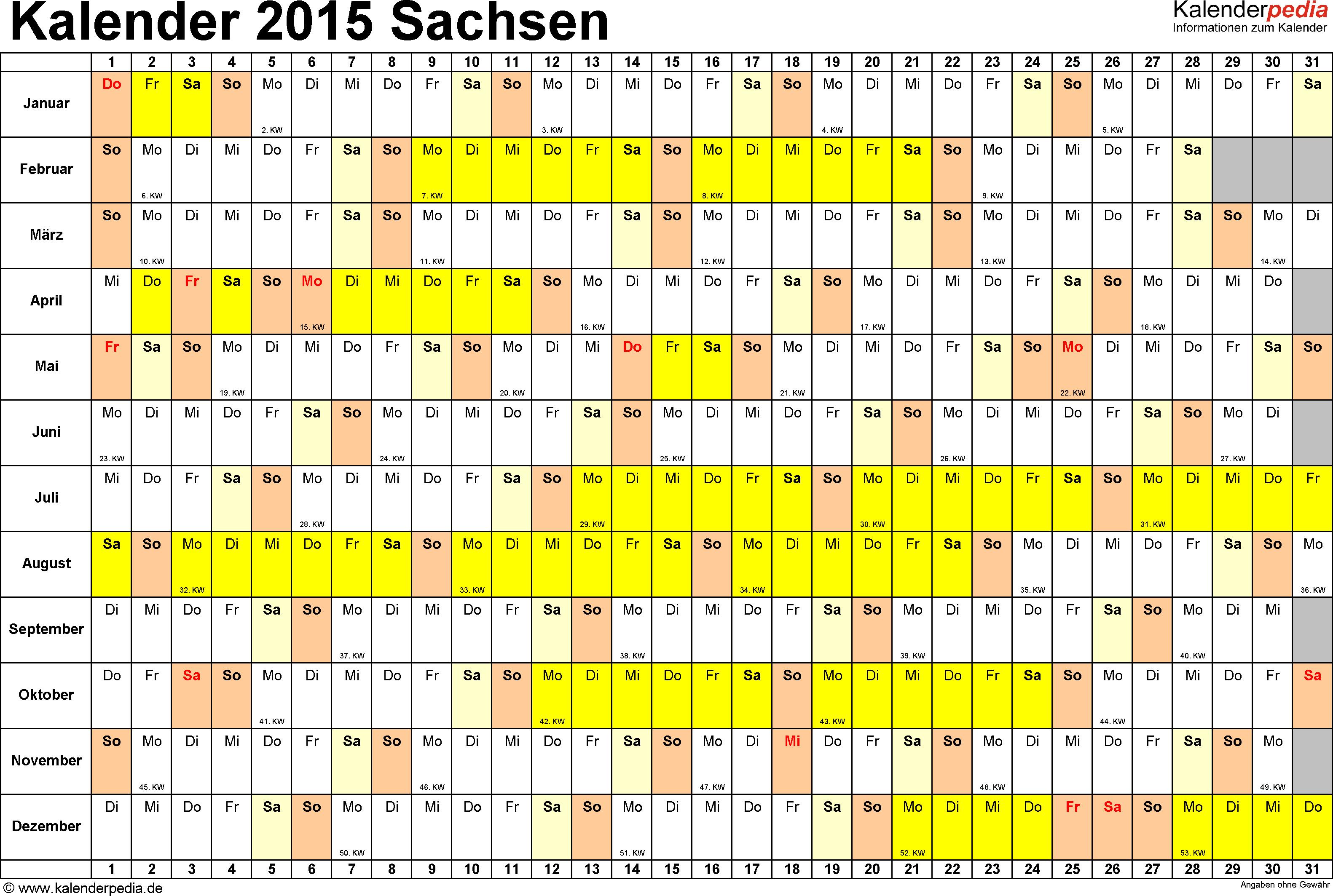 Vorlage 3: Kalender Sachsen 2015 im Querformat, Tage nebeneinander