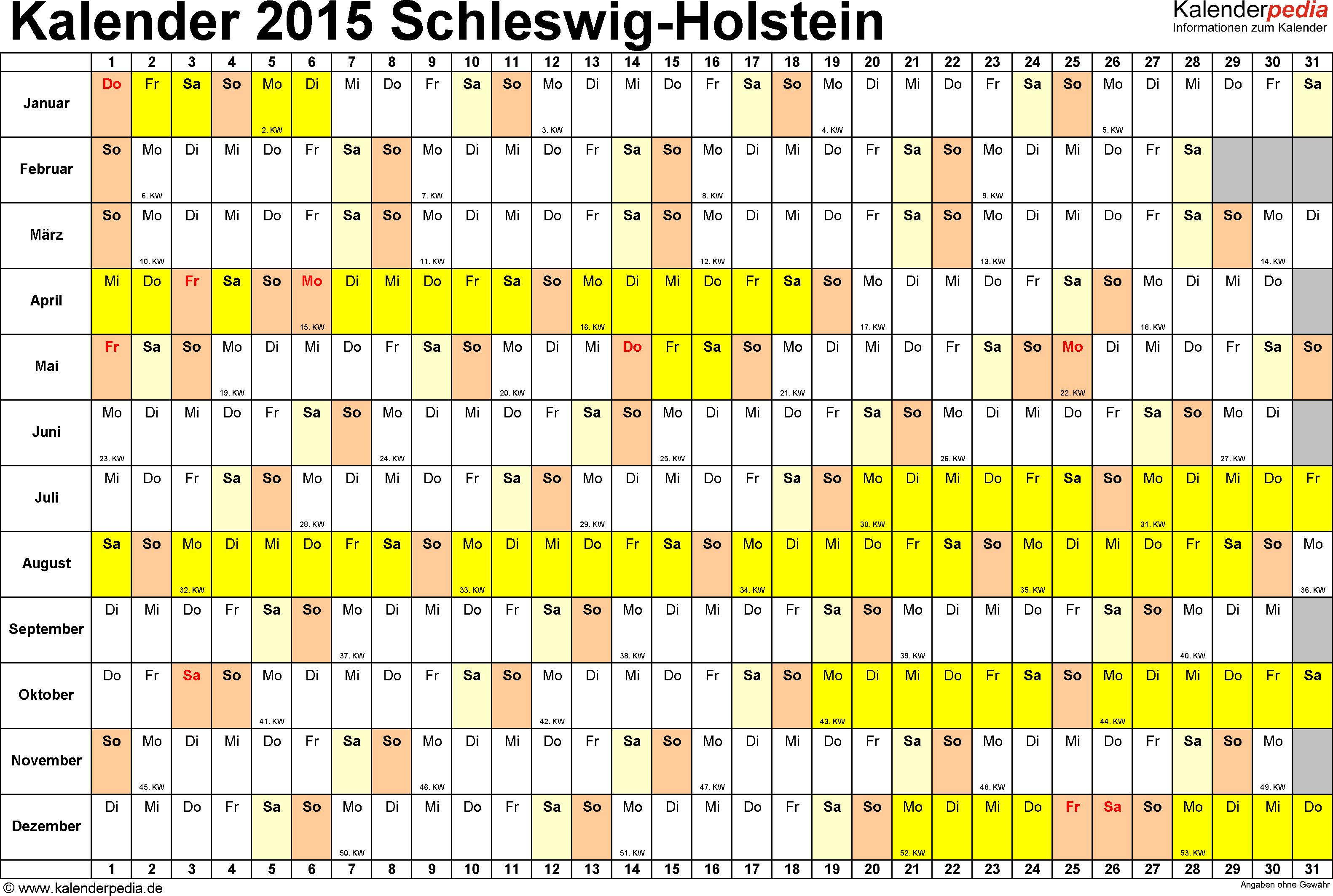 Vorlage 3: Kalender Schleswig-Holstein 2015 im Querformat, Tage nebeneinander