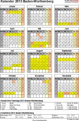 Vorlage 3: Kalender Baden-Württemberg 2013 als Excel-Vorlage (Hochformat)